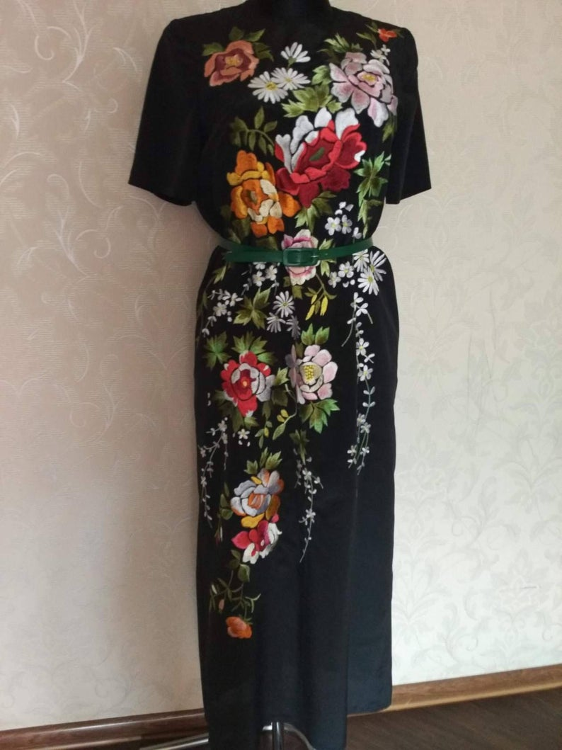 Hand Embroidered Long Dress Maxi Ukrainian Flower Etsy Flower Embroidered Dress Beautiful Black Dresses Embroidered Dress [ 1059 x 794 Pixel ]