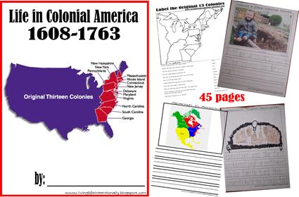 Free colonial life unit study