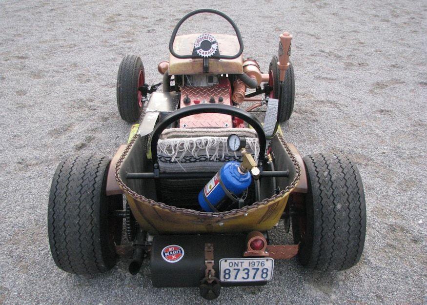 The Diesel Weasel Mow Cart Is Home Built Rat Rod Mayhem Rat Rod Diesel Rat Rod Diy Go Kart