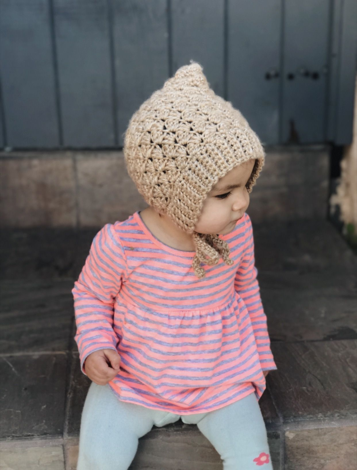 light brown baby cotton handmade pixie hat in bamboo cotton or merino wool with faux fur pom pom Crochet Baby bonnet Newborn Photo Prop.