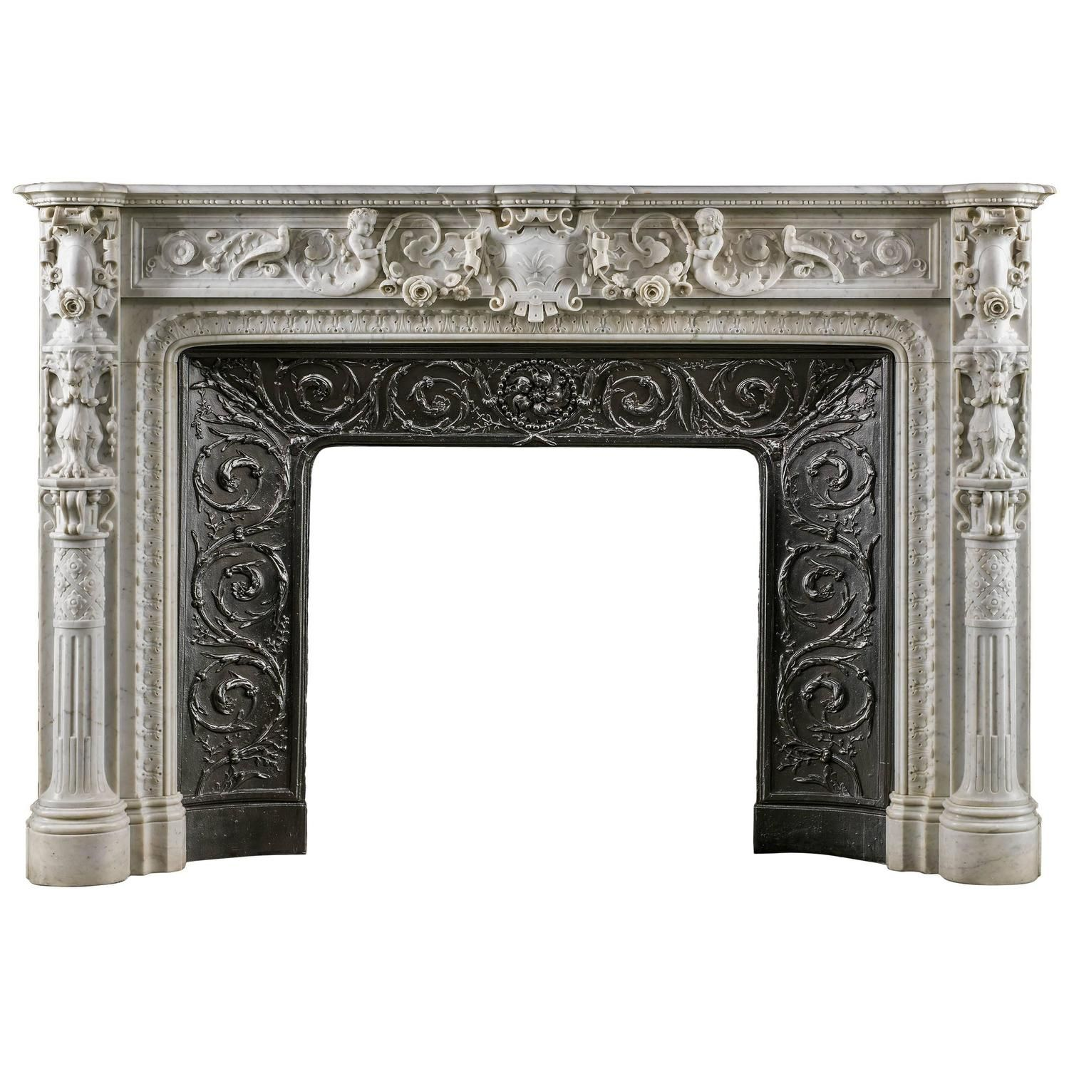 antique marble fireplace mantels. Small Italian Renaissance Style Antique Marble Fireplace Mantel