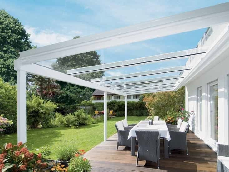 Wall-mounted pergola with sliding cover TERRAZZA by Griesser & Wall-mounted pergola with sliding cover TERRAZZA by Griesser ...