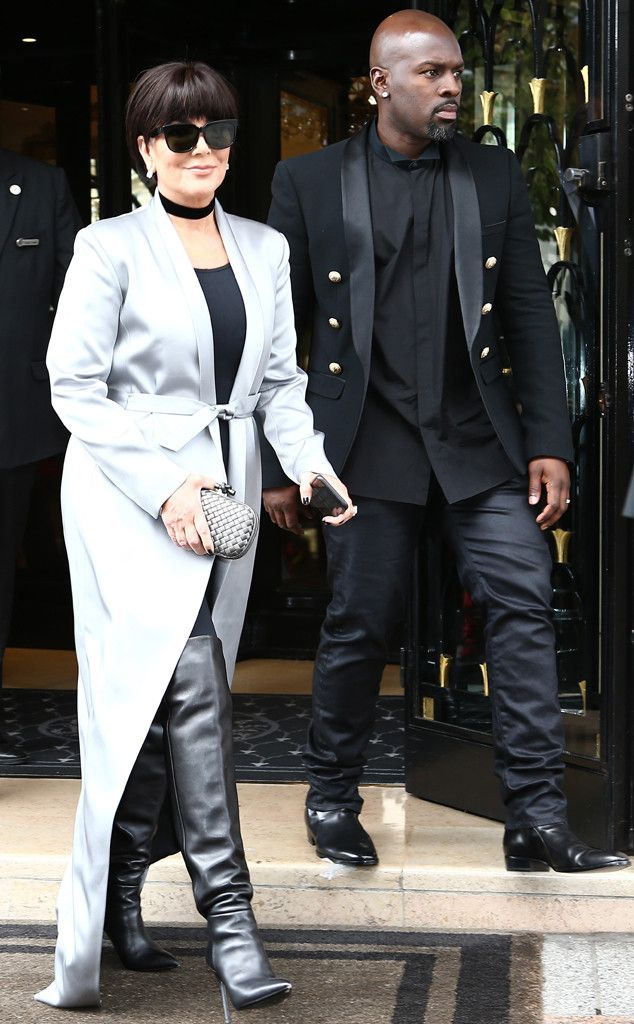 f48705c470e Cool Tones from All the Kardashians  Paris Fashion Week Looks Kris Jenner  had all eyes on her outerwear in a cool satin gray floor-length trench coat  and ...