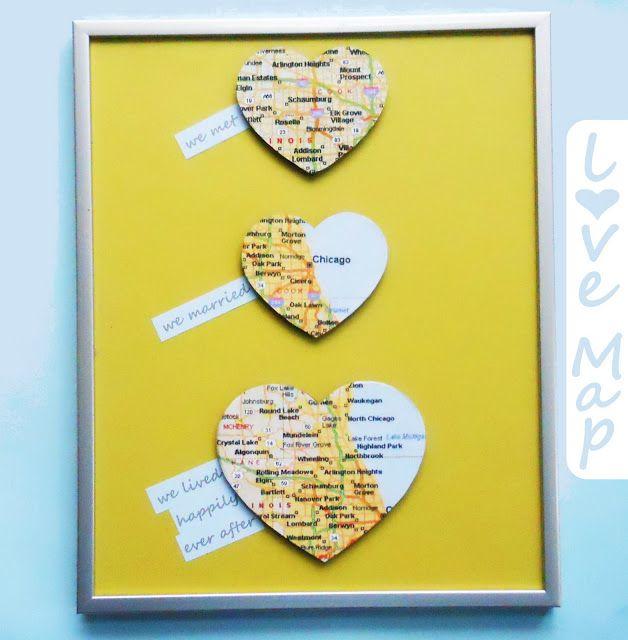 Love Map Wall Art {DIY Wedding Gift} | Gift and Craft