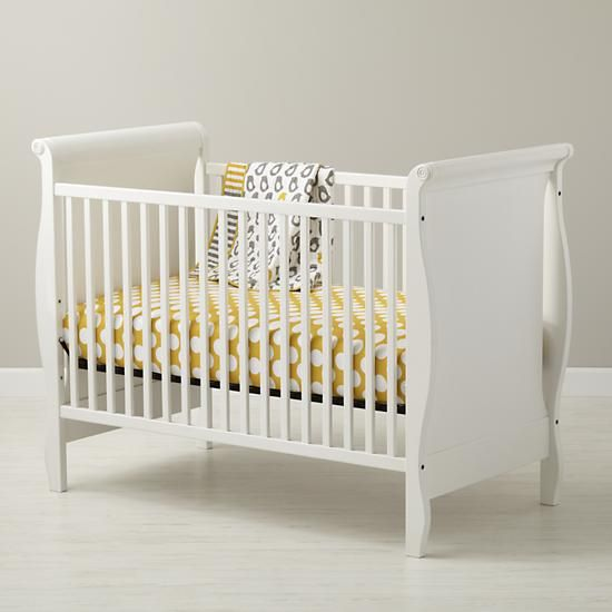 The Land of Nod | Baby Cribs: Baby White Sleigh Crib in Cribs & Bassinets
