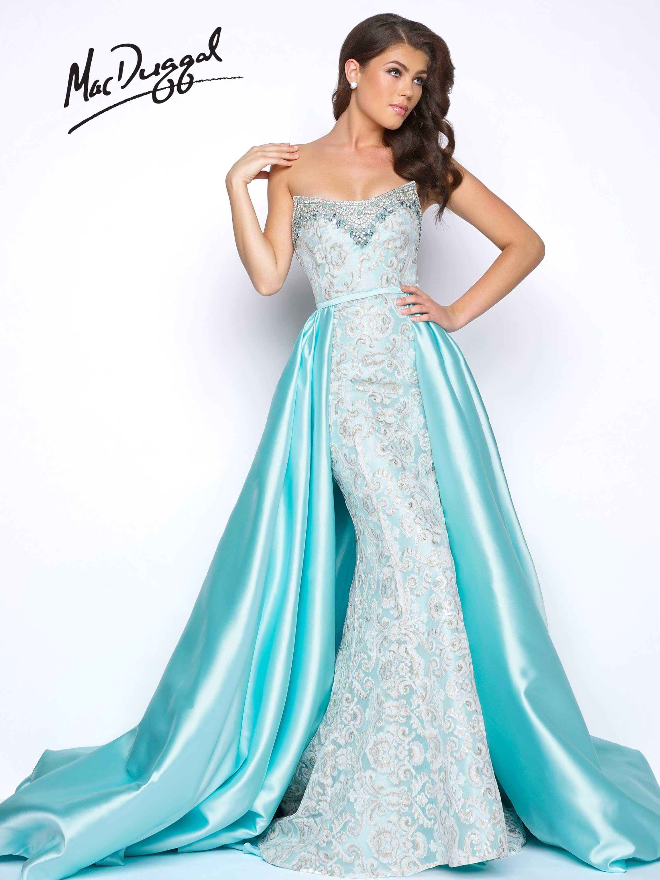 1c5f10dfc2b5c Strapless, embroidered mermaid prom dress with jewel trimmed neckline and  satin overskirt with exaggerated sweep train. This royalty worthy prom dress  comes ...