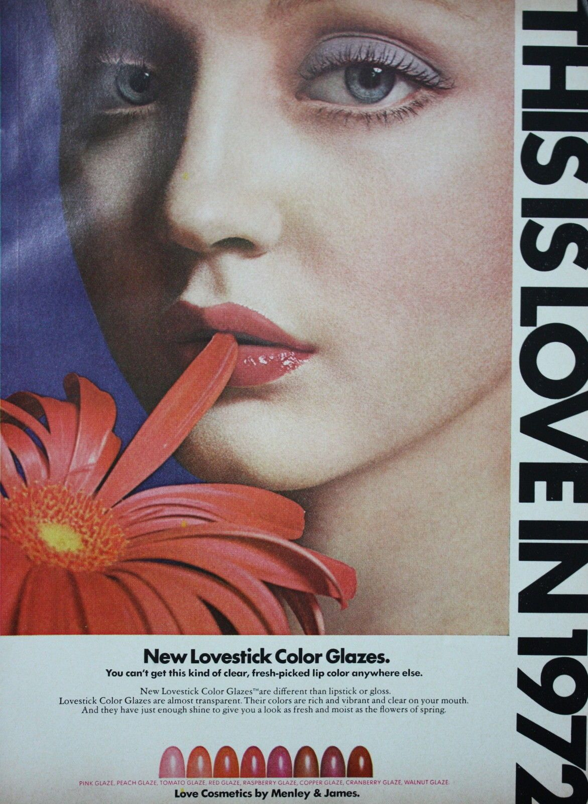 "1972 Love Cosmetics ""Lipstick"" Pretty Girl Full Lips"