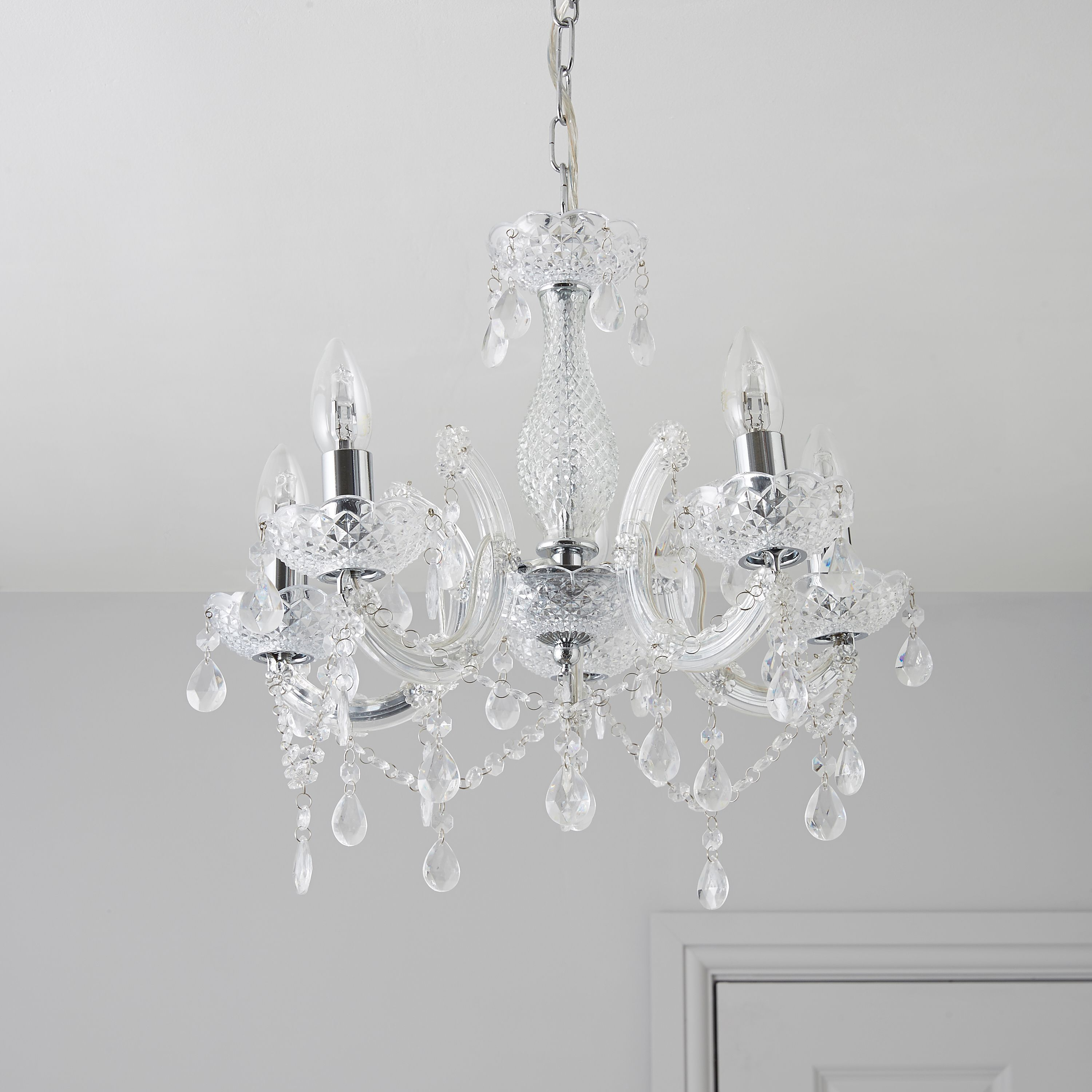 Annelise crystal droplets silver 5 lamp pendant ceiling light annelise crystal droplets 5 lamp pendant ceiling light departments diy at bq mozeypictures Images
