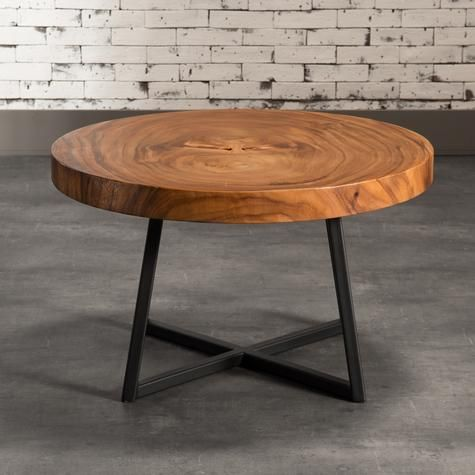 Round Coffee Table With Black Metal Legs Artemano Barrel Table