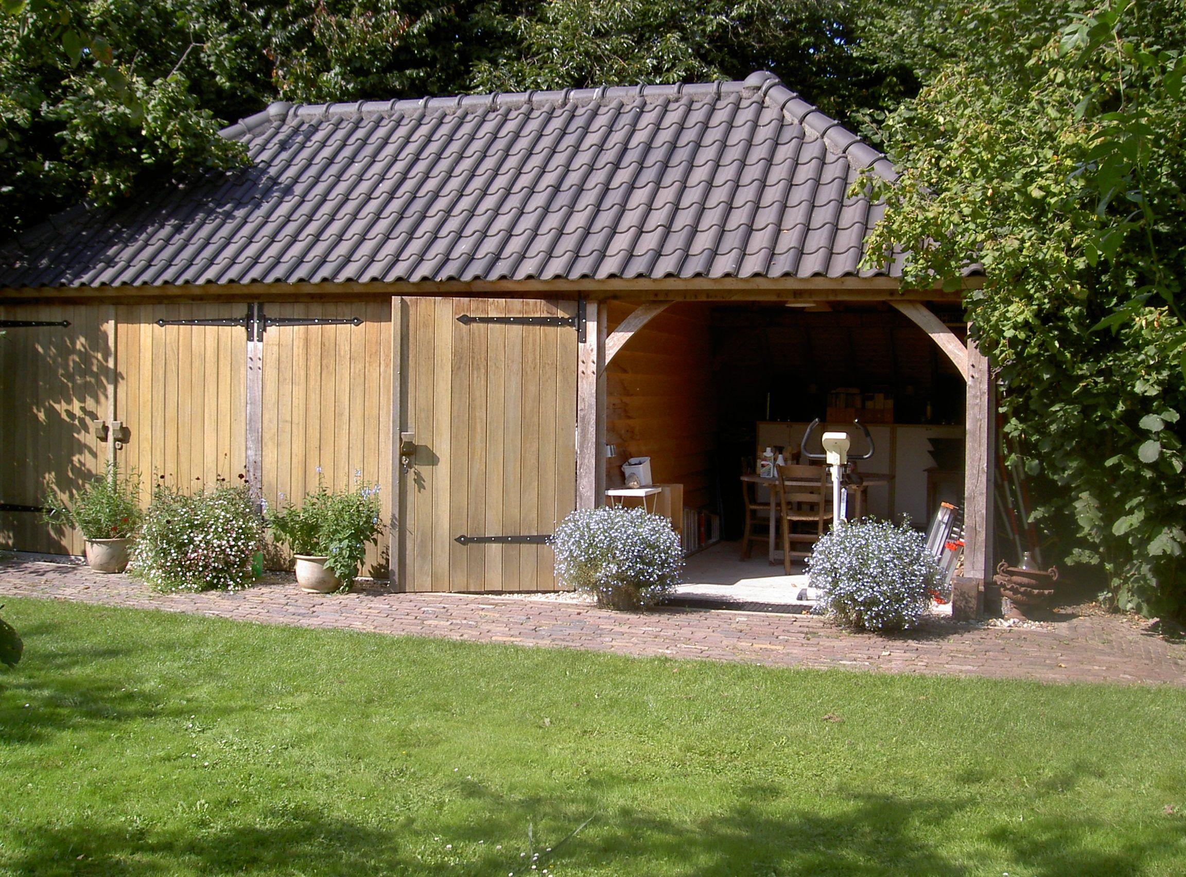 Eiken duurzaam eikenhout eikenhouten bijgebouw bijgebouwen atelier carport garage gastenverblijf - Ontwerp tuinhuis ...