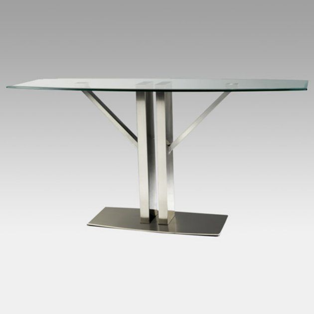 Torino Glass Top Sofa Table With Stainless Steel Base