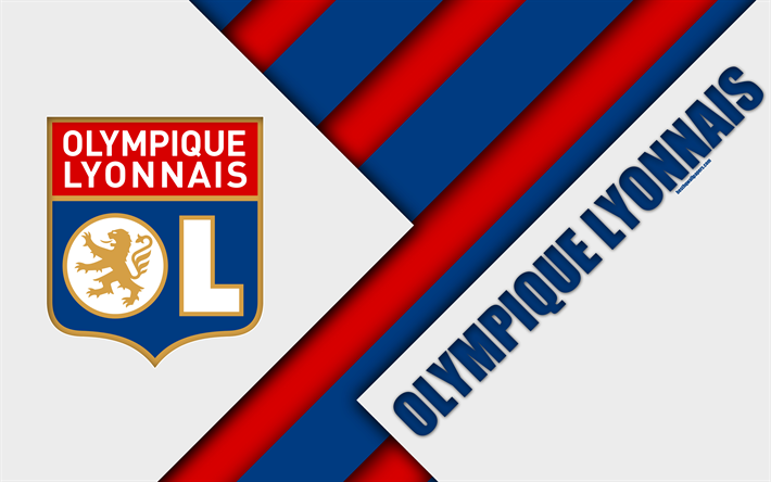 Descargar Fondos De Pantalla El Olympique Lyonnais 4k Diseno De Materiales El Logotipo El Club De Futbol Ingles Rojo Azul La Abstraccion La Ligue 1 Lyon With Images