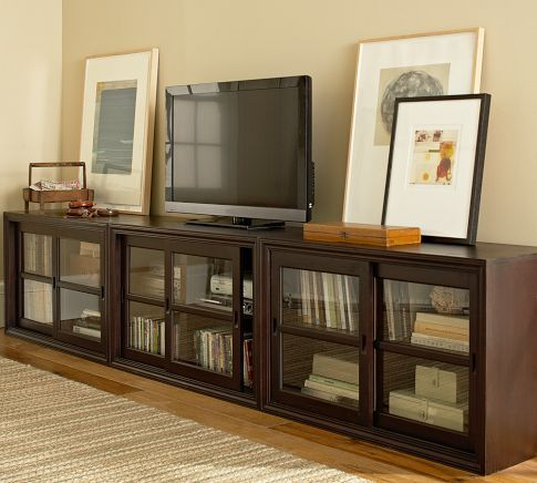 Winslow Glass Door Long Media Stand Living Room Cabinets