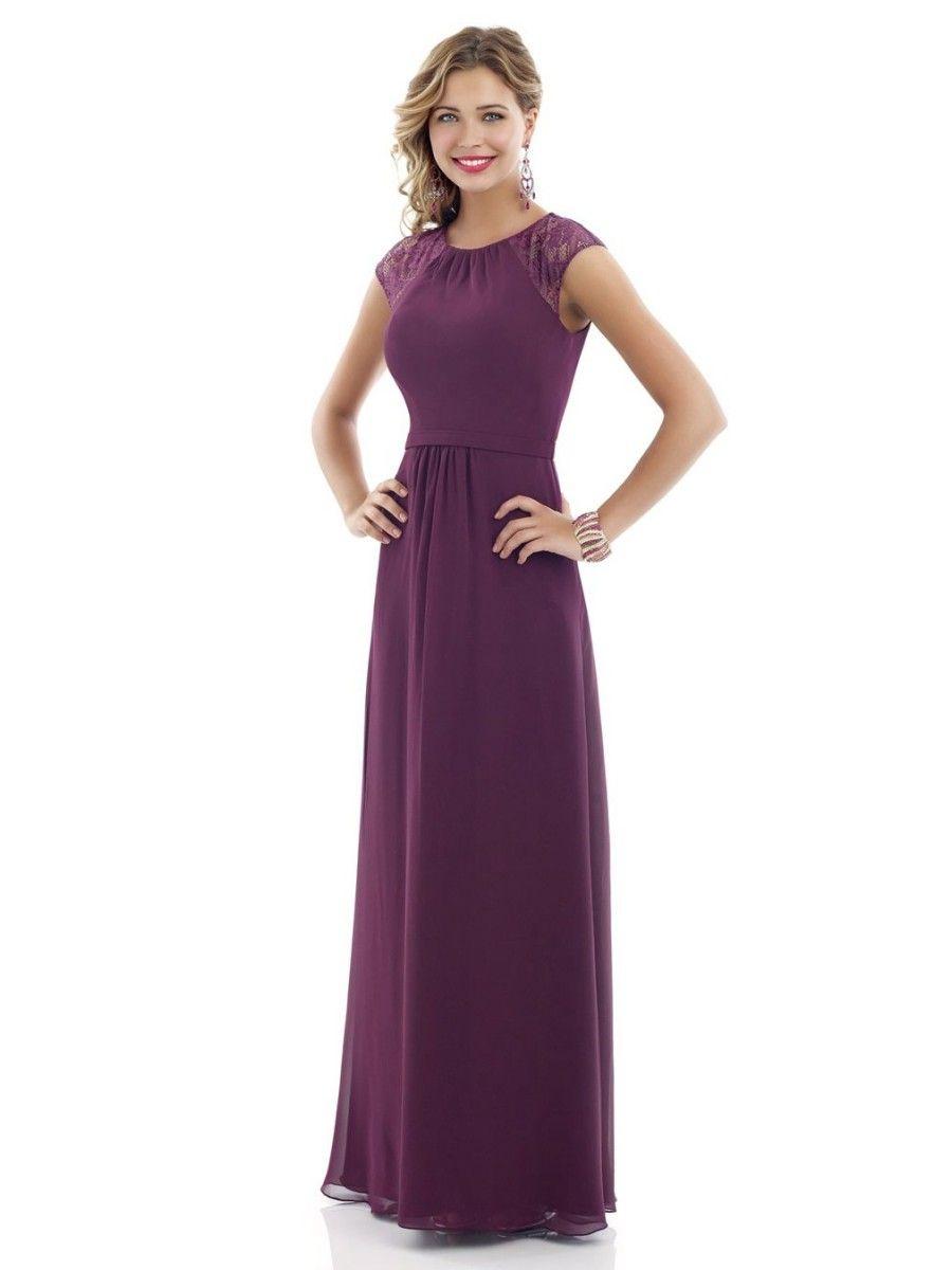 Aline jewel cap sleeves lace and chiffon long purple bridesmaid