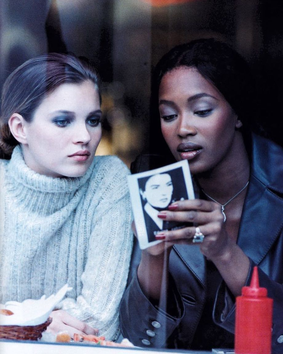 """""""Kate Moss and Naomi Campbell photographed by Peter Lindbergh for Harper s  Bazaar, December 1994…"""" 12c6e76e65"""