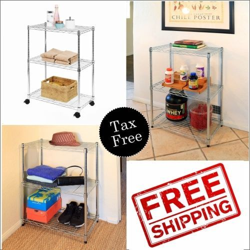 82398a0e950f 3-Tier Kitchen Cart Trolley Wire Rolling Utility Storage Rack Food ...