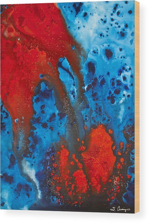 Blue And Red Abstract 3 Wood Print By Sharon Cummings Couleur