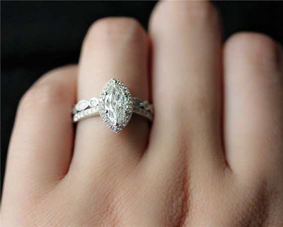 Marquise Brilliant Moissanite Engagement Ring Set Solid 14k White Gold Di In 2020 White Gold Diamond Wedding Rings Diamond Wedding Rings Sets Engagement Rings Marquise