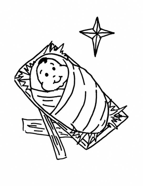 Cute Baby Jesus In A Manger Coloring Page Jesus Coloring Pages
