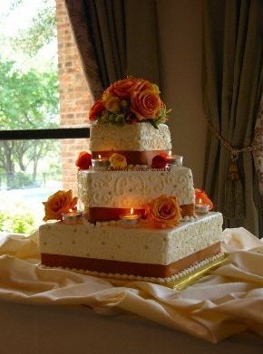 fall wedding cakes Square Offset Fall Themed Wedding Cake fall