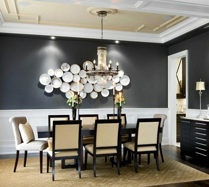muebles comedor, comedor en blanco y negro, con paredes pintadas en ...