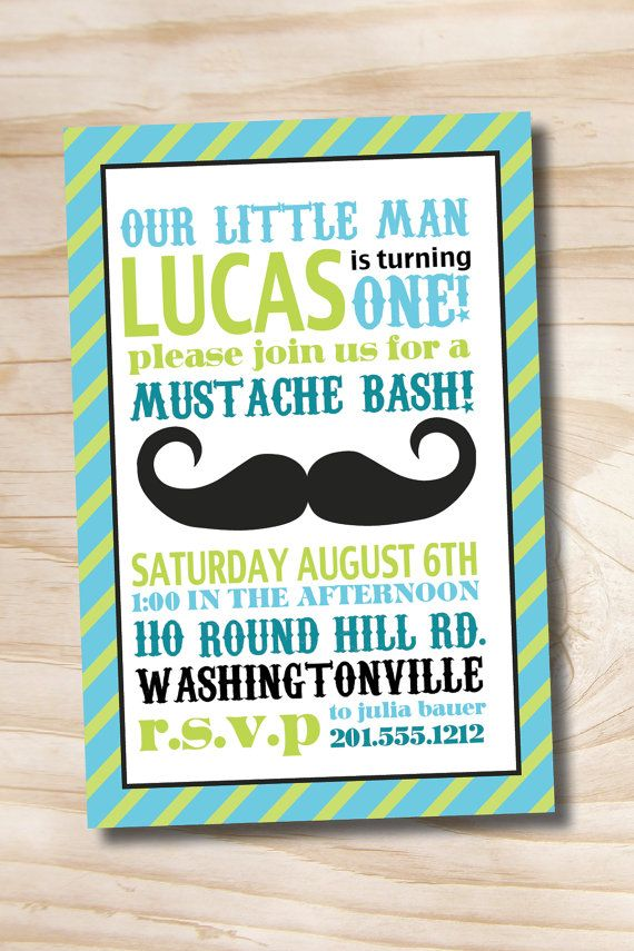 Printable Invitation Mustache Bash Little by PaperHeartCompany ...
