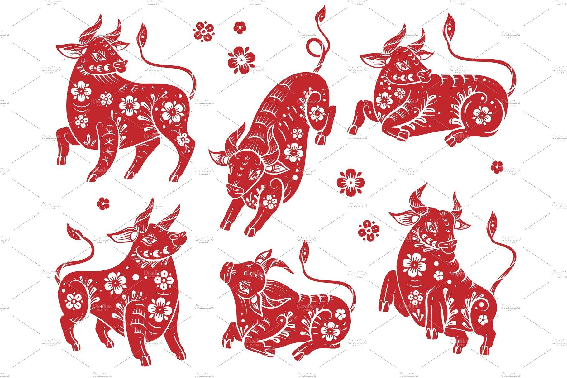 Chinese new year 2021 ox. Red paper by YummyBuum on