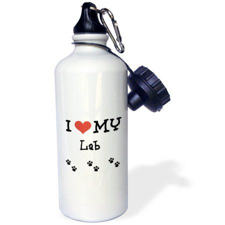 3dRose I Love My - Lab, Sports Water Bottle, 21oz