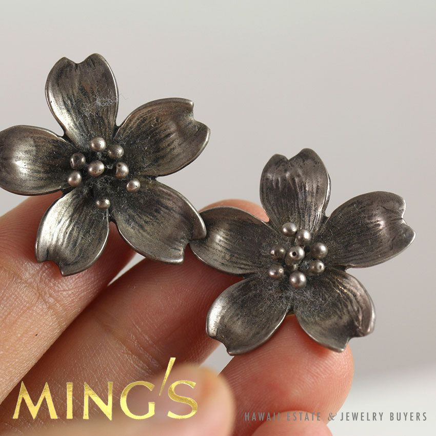 Vintage MING/'S Sterling Silver Large HAWAIIAN HIBISCUS Brooch On Sale!