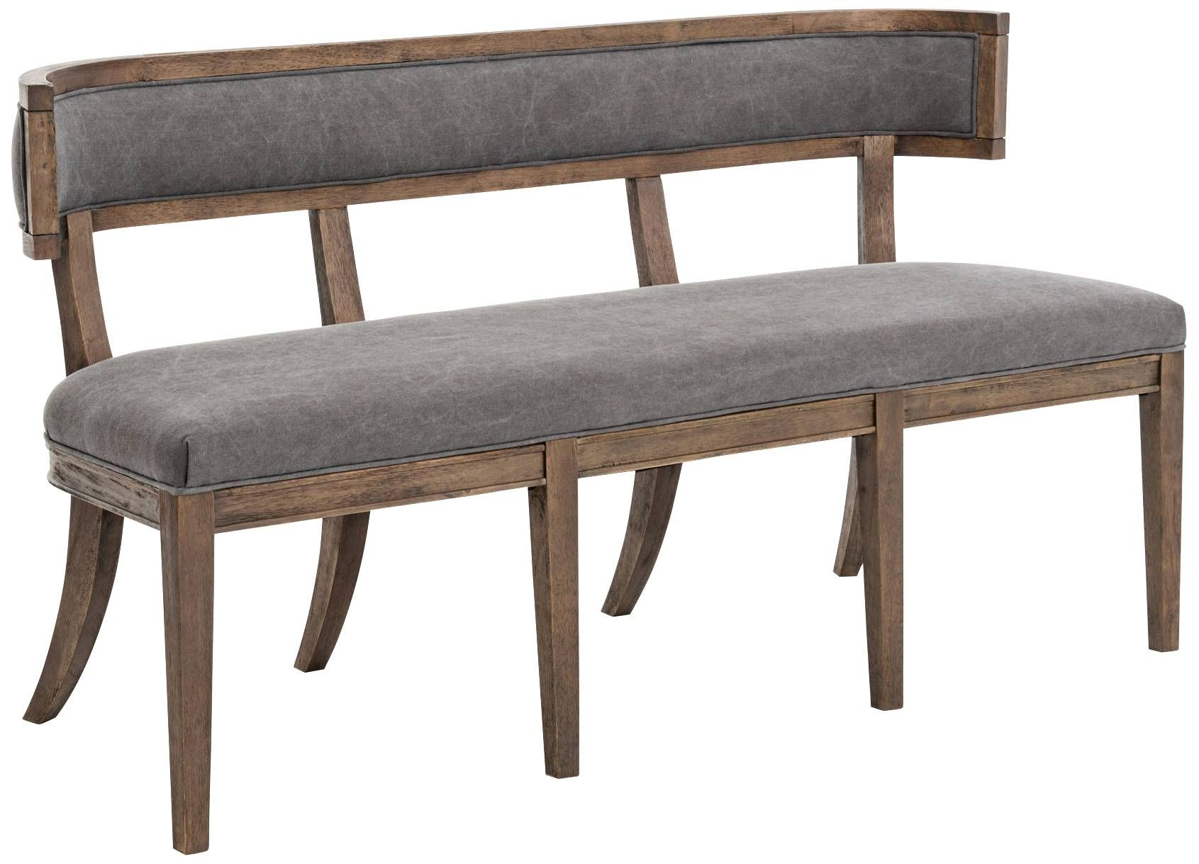 carter dark moon canvas upholstered dining bench 8v571 lamps plus