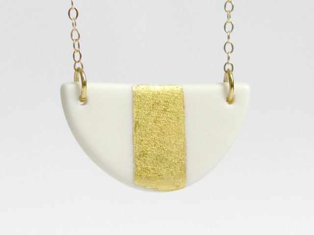 White and Gold Gilded Jewelry - Mini Bib Gilded Porcelain Necklace. $65.00, via Etsy.