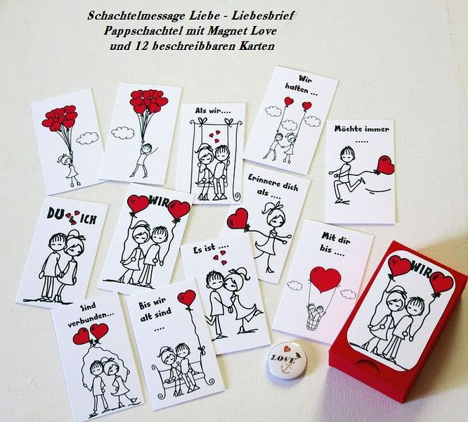 Liebeskiste + 12 Karten ....  + Magnet  Schachtel  von ღKreawusel-Designღ auf DaWanda.com