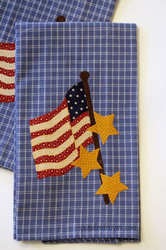 4th Of July Kitchen Towel Americana Towel Applique Towel