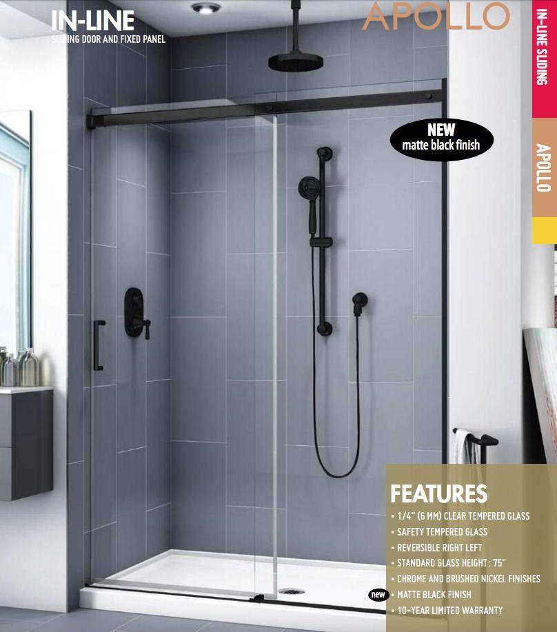 Floating Header Design Integrated Door Catch Finish Matte Black Clear 45 To 48 W X 75 H Ent Frameless Sliding Shower Doors Shower Doors Locker Storage