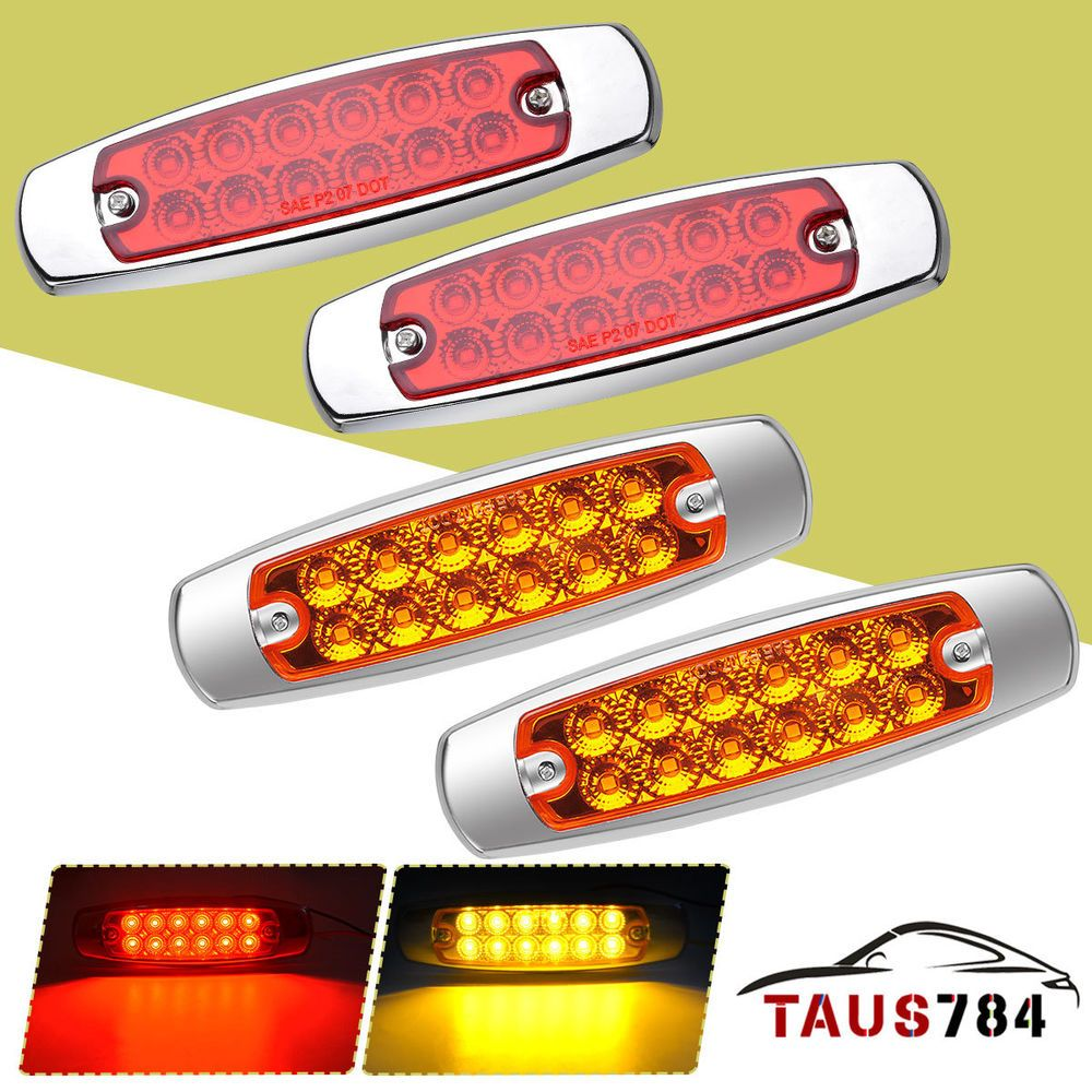 4x Red Amber 12 Leds Side Marker Clearance Light Fish Shape License Plate Lights Fish Shapes Markers Light