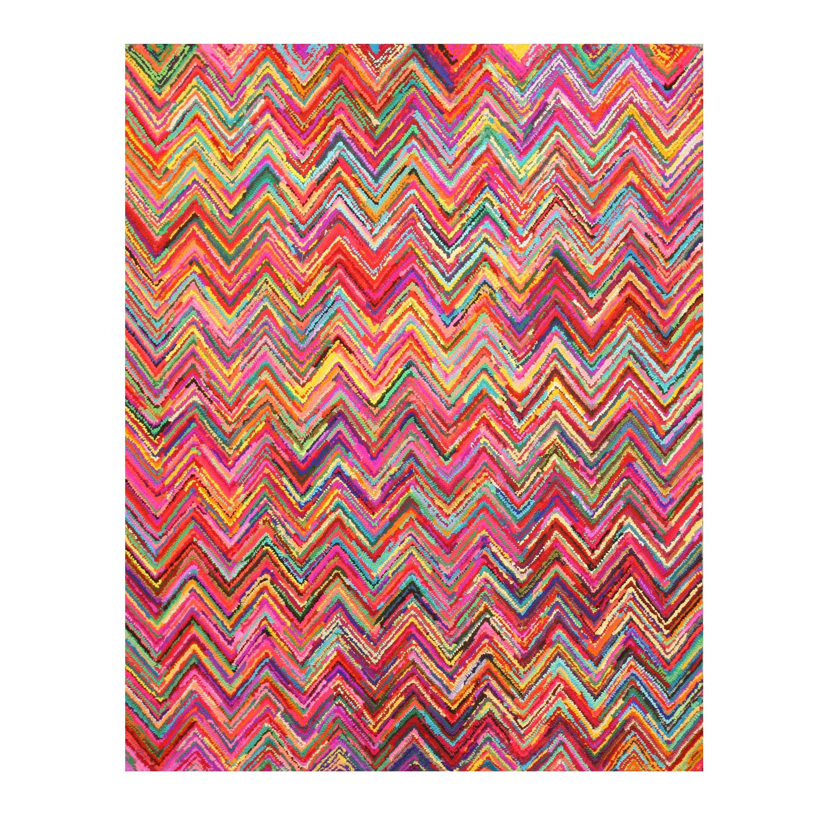 handtufted cotton transitional abstract sari chevron rug (' x   - handtufted cotton transitional abstract sari chevron rug (' x ') by eorc
