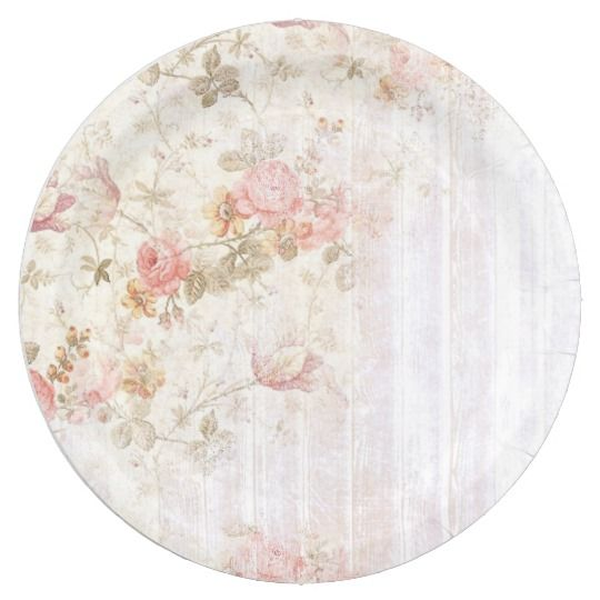 Pink Floral \u0026 Wood Shabby Chic Paper Plate  sc 1 st  Pinterest & Floral \u0026 Wood Shabby Chic Paper Plate