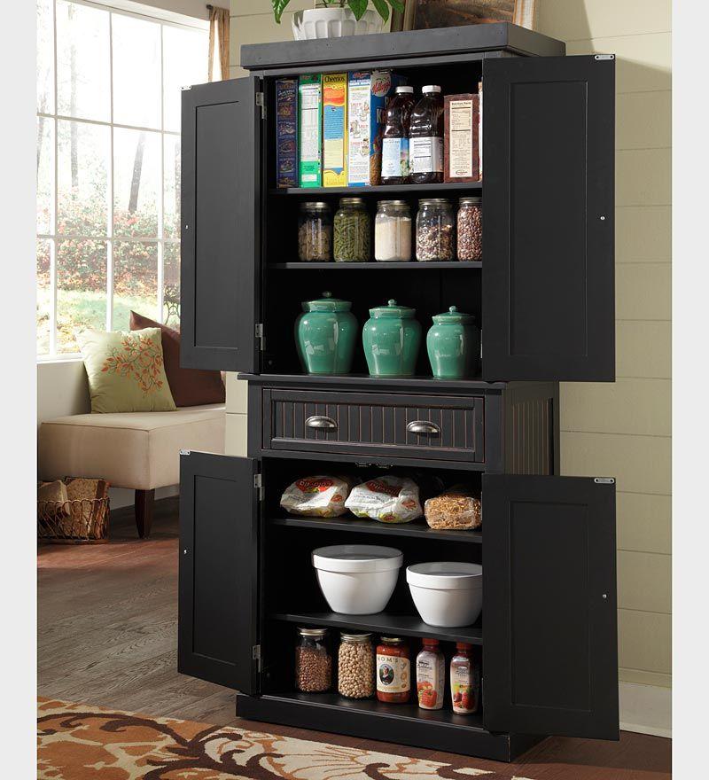 Free Standing Kitchen Storage: Nantucket Kitchen Storage Pantry Cabinet In A Distressed