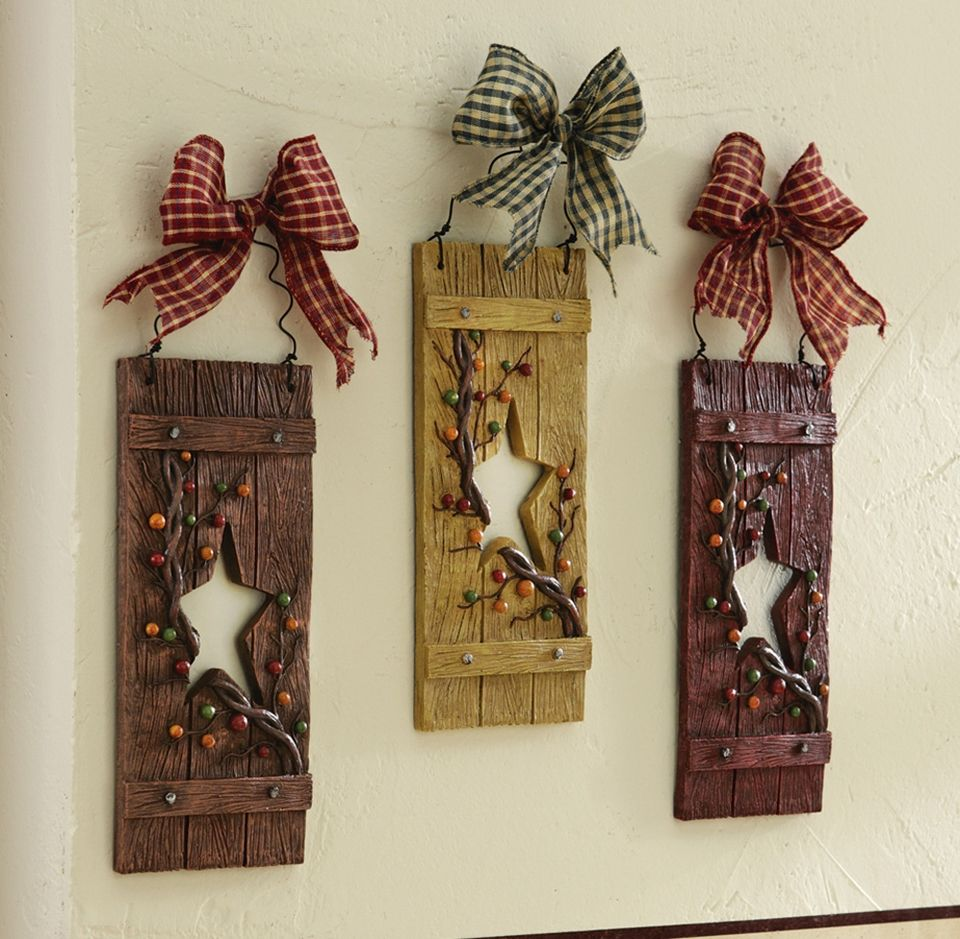 Primitive Hearts And Stars Country Hanging Wall Decor Set of 3 ...