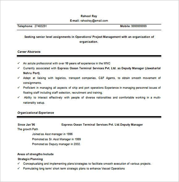 Senior Project Manager Word Free Download , Property Manager Resume
