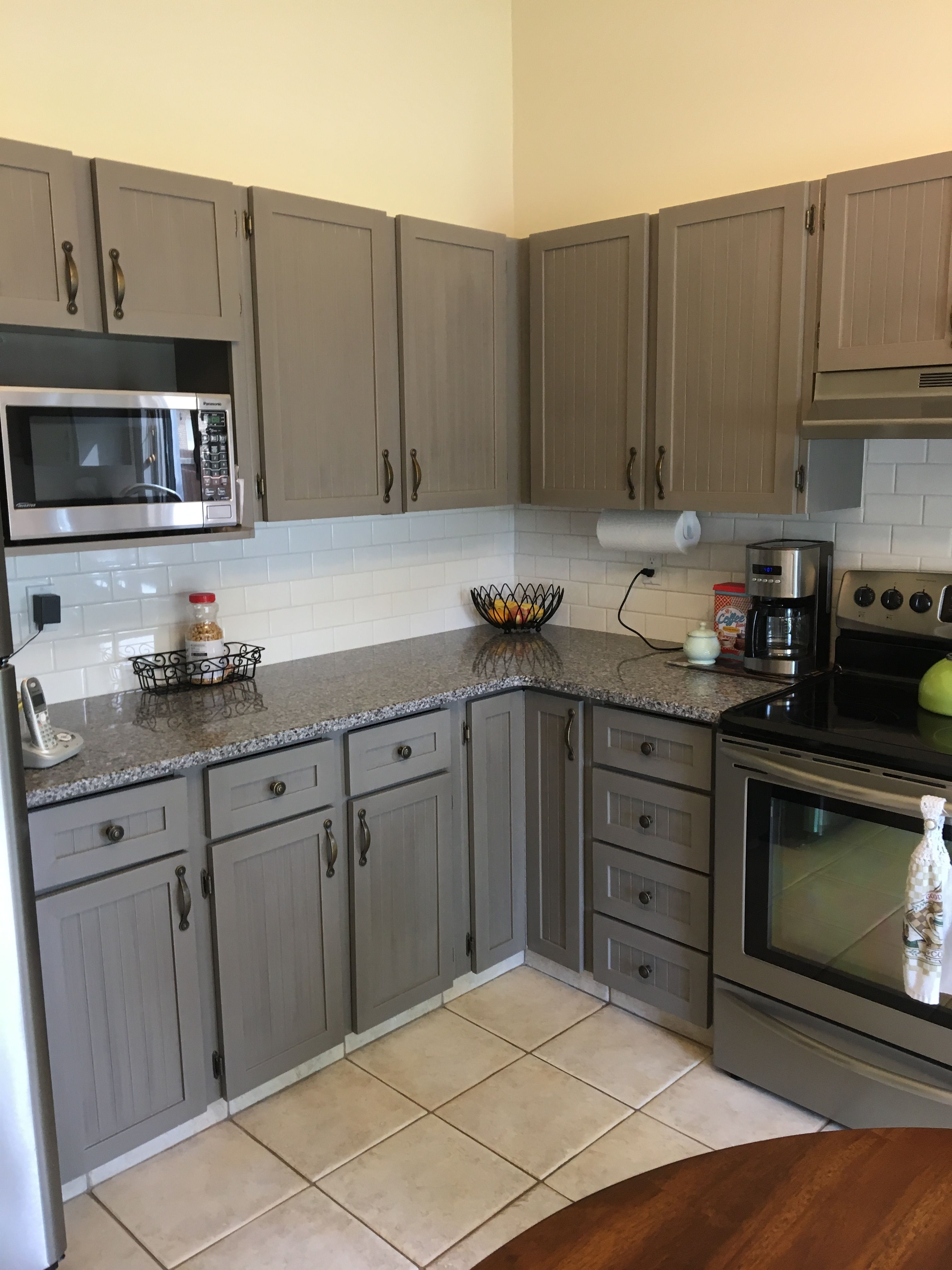 After Painted Grey Kitchen Cabinets With Benjamin Moore