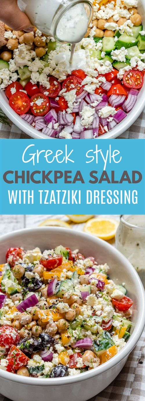 Greek Chickpea Salad + Tzatziki Dressing for a Plant-Based Protein... #food