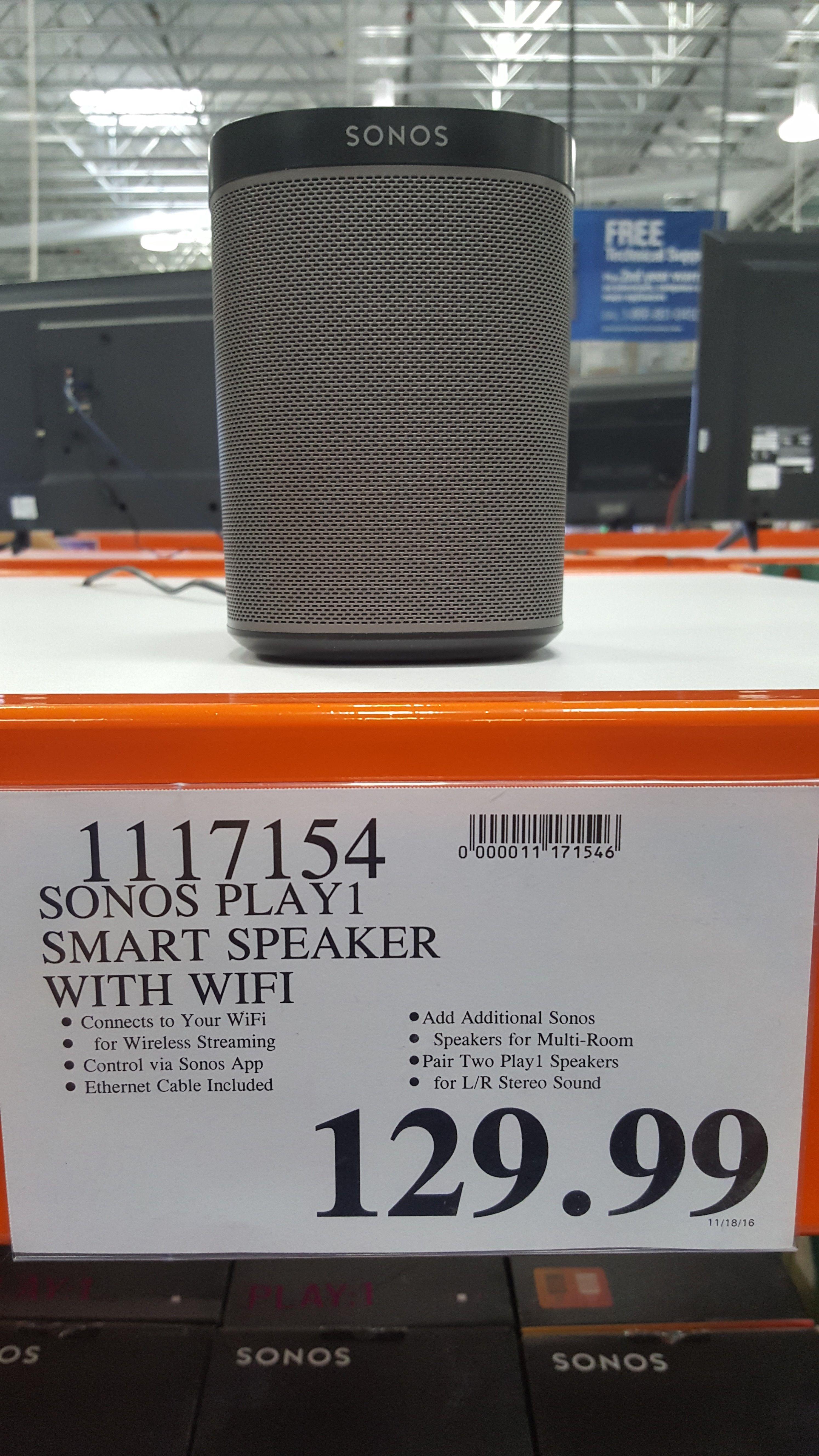 Costco: SONOS Play 1 Speaker (black) for $129.99 tax ( Very YMMV ...