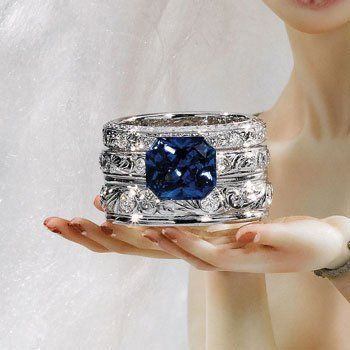 """Victoria Buckley Jewellery """"The White Russians"""" stack of Diamond Engraved bands and Blue Sapphire Firebird Ring"""