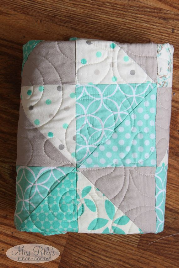 Triangle quilt in mint and gray available from Miss Polly's Piece Goods!