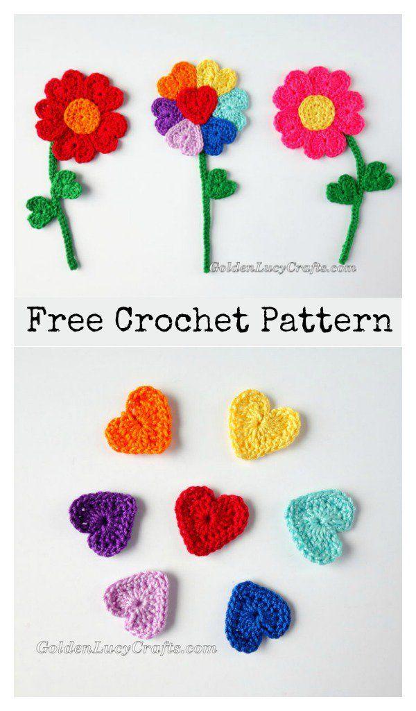 Heart Flowers Free Crochet Pattern   Patrón de ganchillo, Ganchillo ...