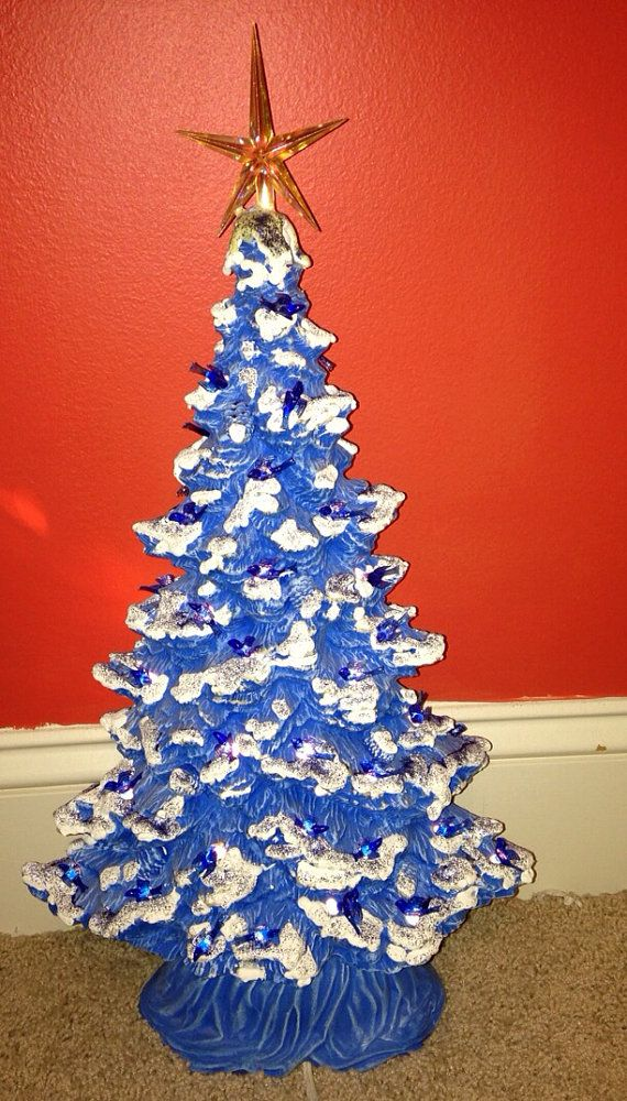Vintage Blue Ceramic Doves Snow Covered Light Up Christmas Tree Star
