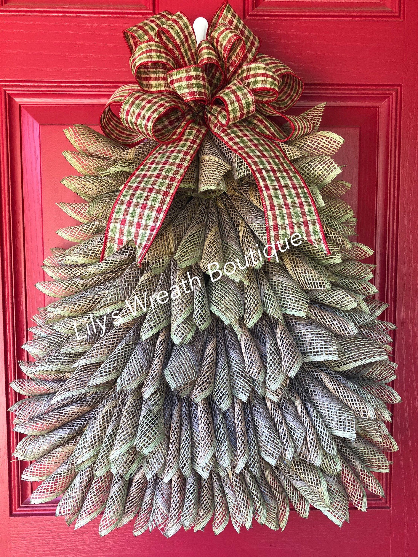 Rustic Farmhouse Christmas Tree Wreath, Burlap Wreath for