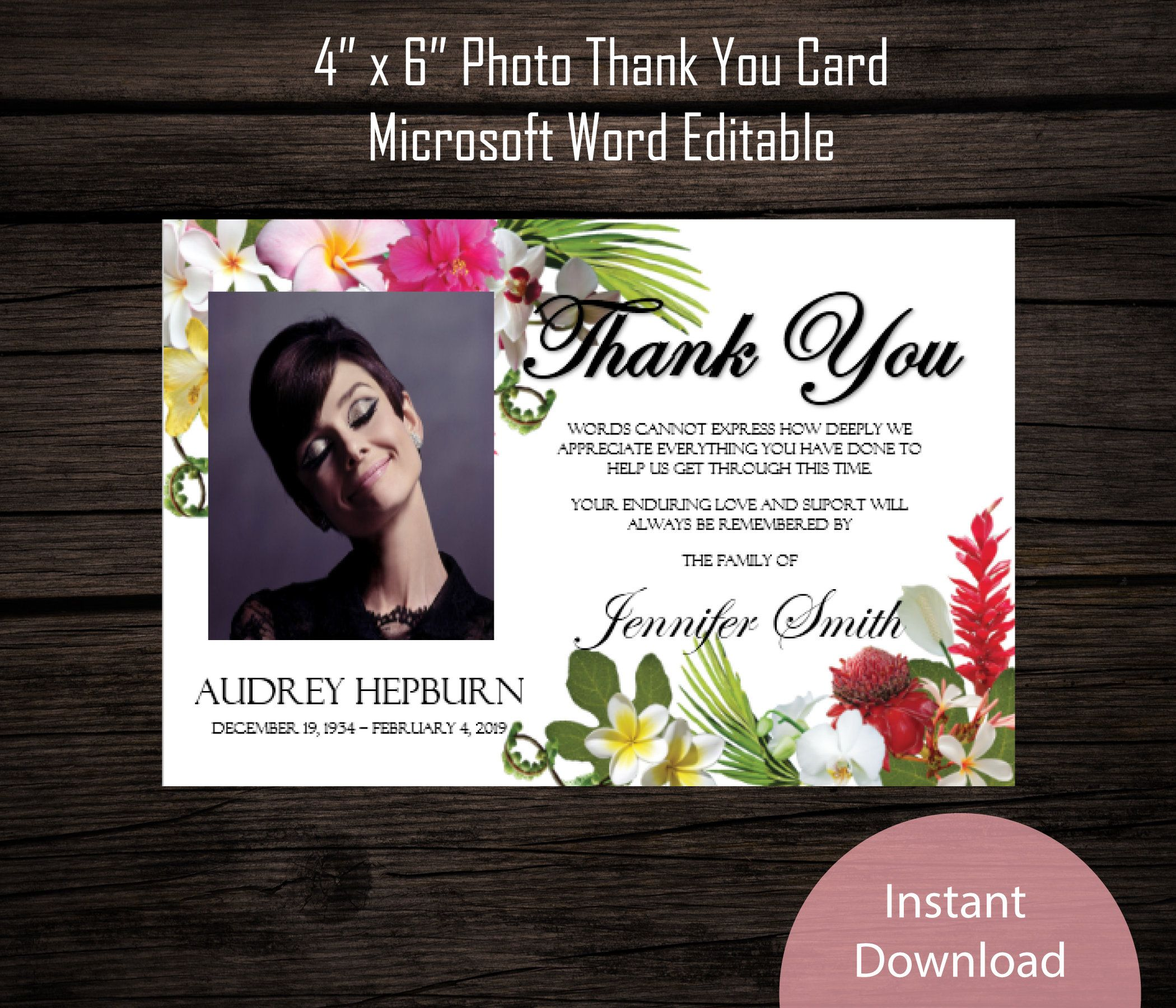 Funeral Photo Thank You Card 4 X 6 Memorial Etsy Photo Thank You Cards Thank You Cards Thank You Card Template