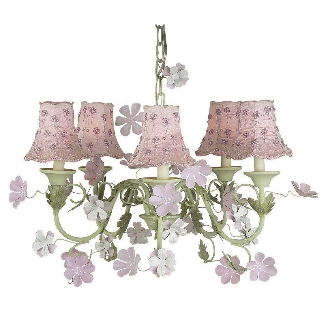 Leaf And Flower Pink Green Five Light Mini Chandelier With Daisy Pearl